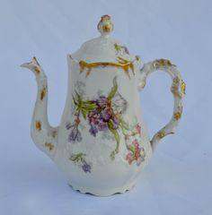 French Vintage Limoges Porcelain Coffee Pot  by MyOldCollection