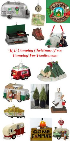 RV Camping Christmas Tree Decorated For An RVing Holiday. Cutest ornaments we've found,live rosemary plant likea mini evergreen tree, fresh herbs after the holiday!