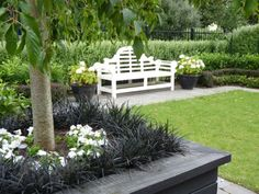 Lutyens seat give the main area a formal look as do the white Hydrangeas and multiple hedges.