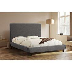Abbyson Bartlett Charcoal Grey Upholstered Platform Bed