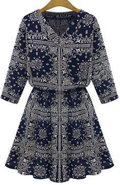 Navy V Neck Totem Print Loose Dress