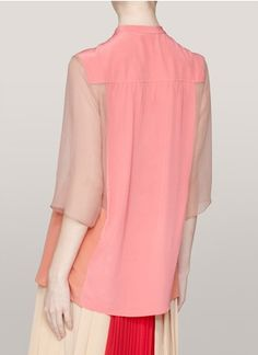 Chloé - Colour-block silk blouse | Pink Blouses & Shirts Tops | Womenswear | Lane Crawford - Shop Designer Brands Online