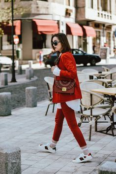 Mango red suit, zara red trousers, asos red blazer, h&m white button down shirt, gucci ace sneakers, white leather sneakers with suit, furla ruby lace metropolis shoulder bag, topshop white fishnet socks, dolce and gabanna blue square sunglasses, andreea birsan, couturezilla, cute spring outfit idea, stradivarius white lace up corset, primark silk scarf, chic on a budget, how to look luxe without breaking the bank, silver hoop earrings, oversize shirt, european spring street style…
