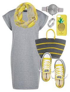 """Yellow"" by jyfashion ❤ liked on Polyvore featuring Peach Couture, Sensi Studio, Converse, Kate Spade, Olivia Burton, Worthington, yellow, converse and yellowandgrey"