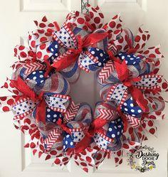 "27"" Festive PATRIOTIC 4th of JULY DECO MESH Wreath #55"