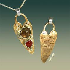 Heart amulet pendant handmade by RasaOm. Sterling by rasaom