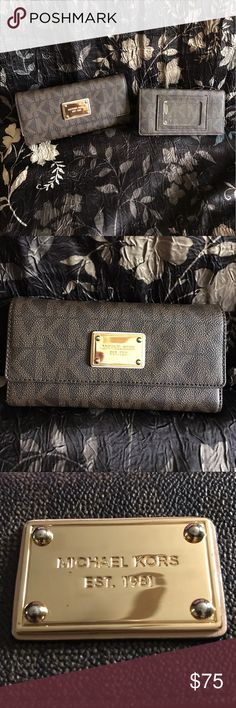 Michael Kors Authentic ~ NWOT Michael Kors Wallet and separate checkbook cover. Black and brown with slots for credit cards, cash, checks and DL. Excellent condition!! Michael Kors Bags Wallets