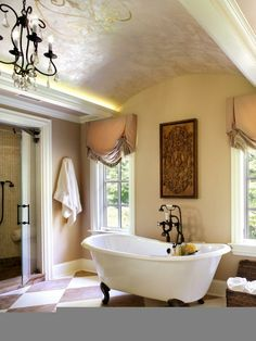 Country-style French bath vaulted ceiling curtains retro vintage