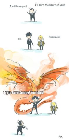 Sherlock, John and Moriarty. Anyone notice how Sherlock played voice actor for Smaug and John played Bilbo? I think its fate for Johnlock to happen. Sherlock Holmes, Sherlock Fandom, Jim Moriarty, Funny Sherlock, Johnlock, Martin Freeman, Doctor Who, Hunger Games, Detective
