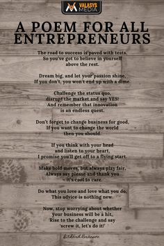 A poem written by Richard Branson dedicated to all entrepreneurs