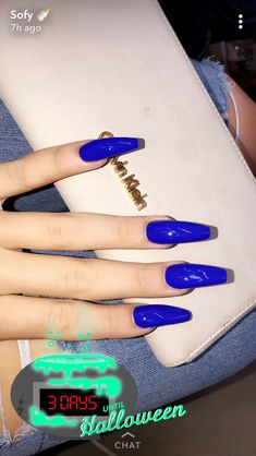 Blue long nails