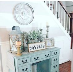 repurposed desk, painted desk, chalk paint, roman nuermal clock, our nest sign, lantern, candel. light, stairs, hallway, entry way, living room, dining room, kitchen, bedroom, home decor, diy decor, diy home decor, plants, picture frame, farmhouse, modern, shabby chich, rustic #afflink