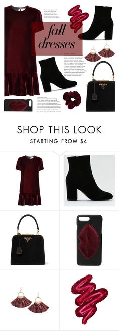 """""""Fall Fashion: Dresses"""" by sandralalala ❤ liked on Polyvore featuring Yves Saint Laurent, American Eagle Outfitters, Prada, Kendall + Kylie and Obsessive Compulsive Cosmetics"""