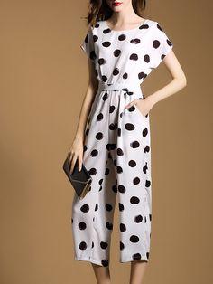 Work Pockets Short Sleeve Polka Dots #Jumpsuit Stylewe
