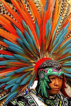 Mexico - Aztec dancer. His headdress weighs around 50 pounds. Beautiful colors!