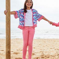 Cherokee Girls Aztec Kimono and Pink Skinny Jeans