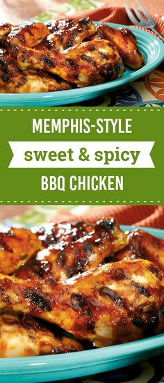 Memphis-Style Sweet Spicy BBQ Chicken – Garlic, orange juice, and BBQ sauce bring the flavor in this delicious grilling recipe. In just 40 minutes you and your summer party guests can enjoy this saucy dish.