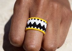 Browse unique items from PeyoteRings on Etsy, a global marketplace of handmade, vintage and creative goods. Loom Bracelet Patterns, Beaded Necklace Patterns, Bead Loom Bracelets, Bead Loom Patterns, Beaded Rings, Beaded Jewelry, Wire Jewelry, Bracelets, Bracelet Patterns