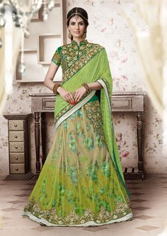Green Net Designer Lehenga Saree 61198