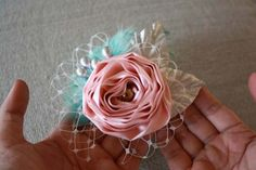 How to Make Fabric and Feather Flower Elastic Lace Headbands | Flower Making Tutorials