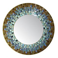 Blue & Brown Mosaic Mirror Round by opusmosaics on Etsy, $135.00