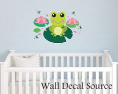 Large Frog on Lilypad - Nursery Wall Decal - Vinyl Frog Decal - Reusable Available