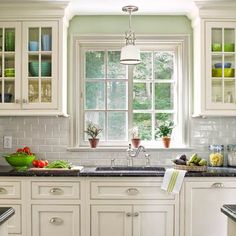 Simple kitchen lighting ideas white subway tiles New ideas Bright Kitchen Lighting, Kitchen Sink Lighting, Kitchen Sink Window, Best Kitchen Sinks, Kitchen Cabinet Remodel, Kitchen Cabinet Handles, New Kitchen Cabinets, Kitchen Backsplash, Upper Cabinets