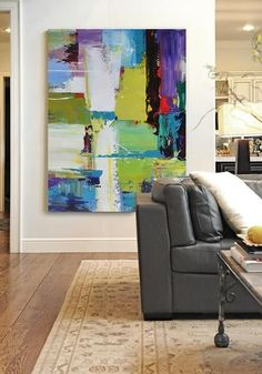 CZ Art Design - Oversized Palette Knife Contemporary Art, Hand painted vertical canvas painting with thick paint.