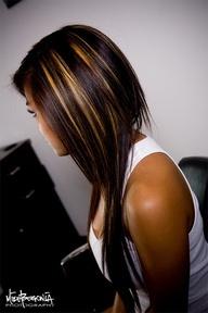 Highlights in dark hair.