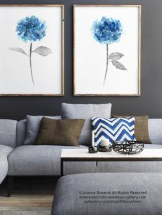 Blue Hydrangea Set of 2 Watercolor Painting, Abstract Flowers Poster, Botanical Art Print Floral Garden Artwork, Hydrangeas Girls Room Decor by ColorWatercolor on Etsy