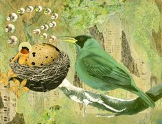 Lullaby -2D collage by Dianne Hoffman