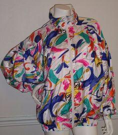 VTG 80s 90s Nylon Windbreaker Track Suit Jacket Bocoo Women's Medium M