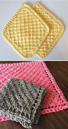 Crochet Stitches Design Free Knitting Pattern for Grandmother's Waffle Washcloth/Blanket - Diagonal waffle stitch created by making increases and then decreases at row ends. Designed by Rachelle Corry. Pictured projects by marilymar and mzmackay - Knitted Dishcloth Patterns Free, Crochet Dishcloths, Knitting Patterns Free, Crochet Stitches, Free Pattern, Knitted Washcloths, Crochet Patterns, Crochet Socks, Tatting Patterns