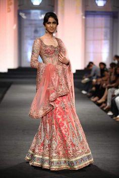 Indian bridal lehenga, Anjalee and Arjun Kapur Bridal Collection 2012. Model- Reha Sukheja