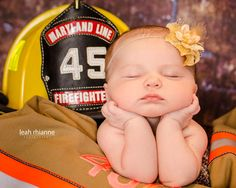 Baltimore newborn portraits by Leah Rhianne Photography #firefighter #babygirl