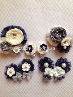 Ivory Navy Hairclip Baby Hairclip Mini by candybuttonusa on Etsy