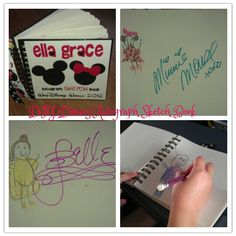DIY Disney Autograph Sketch Book - I will do this EVERY time we go to WDW from now on!! Buy a plain sketch book; create a cover in Photoshop, print, mod podge to front of book; let your child draw each character he/she might meet; have characters sign the page with your child's drawing. Cast members and characters were super impressed and loved seeing my 4 year old's drawing of themselves!  And, it makes a super cute souvenir and keepsake for years to come :)