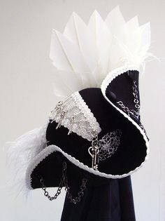 Steampunk Black & white tricorn hat Captain Sydious
