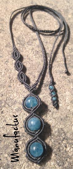 Manufactus art macramè necklace with angelite stone...handmadeinitaly Rome...in mymacramè!
