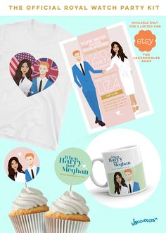 The perfect party favors to watch the Royal Wedding with your girlfriends #meghanmarkle #royalwedding #royalty #markle #princeharry #royalengagement #etsy #etsyseller #etsyshop #etsyfinds #printable #cupcaketoppers #events #eventplanning #teatime #kensington #royals #invitation