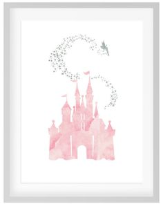 Castle Tinkerbell Print, DIY Printable Pink and Silver Watercolor Disney Princess Castle Peter Pan Tinkerbell Print Picture Art, Girls Room - - Disney Castle Drawing, Disney Castle Tattoo, Disney Princess Paintings, Disney Princess Castle, Watercolor Disney, Watercolor Cards, Arte Disney, Disney Art, Cardboard Box Crafts
