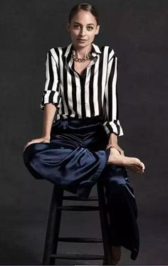 Nicole Richie wearing La Ligne Boudoir Shirt and House of Harlow 1960 x Revolve Charlie Wide Leg Pants