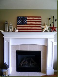 4th of July Mantel...Love this ...could use from memorial day thru the fourth