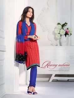 Red N Blue Cotton Classy Casual Salwar Kameez  Eid casual salwar kameez