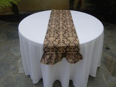 Damask Print Burlap Table Runner with Ruffle, READY to SHIP, Custom Size Available, Wedding, Party, Shower, Home Decor. $29.00, via Etsy.