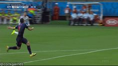 GIF: Robin Van Persie-- the flying Dutchman-- amazing leaping header from a long pass as the Netherlands humiliates La Roja Soccer Gifs, Soccer Memes, Sports Memes, Funny Sports, Neymar Football, Football Gif, Super Football, Soccer World, World Football