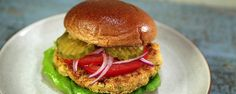 Chickpea Burgers ... Tia Mowry .. thechew.com .. canned chickpeas, quick oats, miso, shoyu, maple syrup, etc.