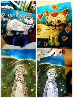 Zvířátka vyrytá do klovatiny, vytřená tiskařskou barvou. Snoopy, Fictional Characters, Fantasy Characters
