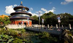 Epcot. Reflections of China in the China Pavilion at Epcot theme park is a lush 13-minute film shown in stirring Circle-Vision 360°. China's mythical beauty is captured in sweeping photography of the Great Wall, Shanghai and other epic locales.