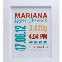 Quadro personalizado com informações do nascimento (Foto: Divulgação/Macetes de…